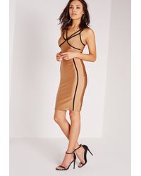 Missguided - Natural Contrast Binding Midi Dress Nude/black - Lyst