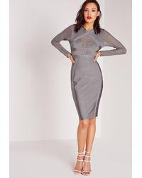 Missguided - Gray Premium Long Sleeve Bandage Bodycon Dress Grey - Lyst