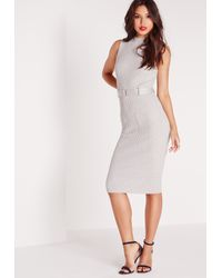 Missguided - Pink Sleeveless Belted Midi Dress Grey - Lyst