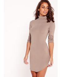 Missguided - Multicolor Petite Curved Hem Roll Neck Bodycon Dress Taupe - Lyst