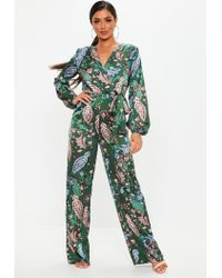 b462749197 Lyst - Missguided Exclusive Petite Satin Wide Leg Jumpsuit In Green ...