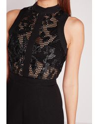 Missguided - Lace Binding Detail Playsuit Black - Lyst