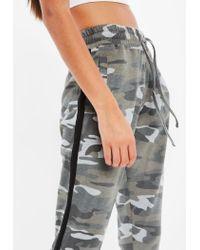 Missguided - Natural Petite Khaki Camo Side Stripe Joggers - Lyst