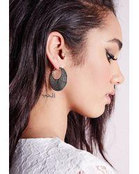 Missguided - Black Disk Hoop Earrings Silver - Lyst