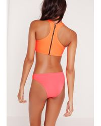 Missguided - Contrast Stitch Sporty Bikini Set Orange And Pink - Lyst