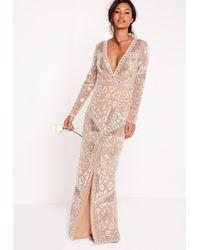 Missguided | Metallic Bridal Sequin Wrap Maxi Dress Silver | Lyst