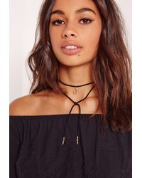 Missguided - Wishbone Wrap Around Necklace Black - Lyst