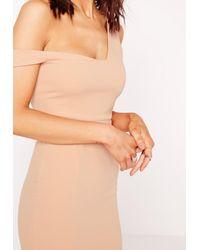 Missguided - Brown Bardot Strap Midi Dress Nude - Lyst