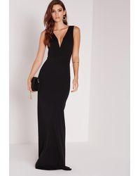 Missguided | V Plunge Maxi Dress Black | Lyst