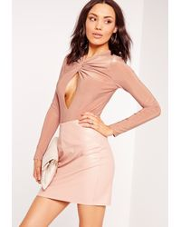 Missguided - Slinky Twist Front Long Sleeve Bodysuit Pink - Lyst