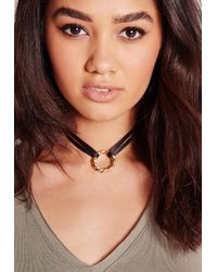 Missguided - Black Pendant Choker Gold - Lyst