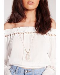 Missguided - Metallic Stone Drop Long Necklace - Lyst