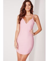 Missguided - Purple Strappy Plunge Bodycon Dress Lilac - Lyst