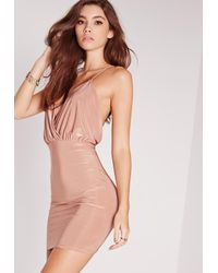 Missguided - Blue Slinky Strappy Plunge Bodycon Dress Pink - Lyst