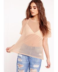 Missguided - Multicolor Mesh T-shirt Nude - Lyst