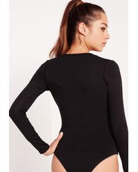 Missguided | Natural Two Pack Long Sleeve Plunge Neck Bodysuit Black And Camel | Lyst