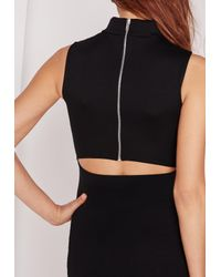 Missguided - Natural Open Back Bodycon Dress Black - Lyst