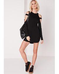 Missguided - Cage Shoulder Curve Hem Bodycon Dress Black - Lyst