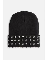 Missguided - Black Studded Detail Beanie - Lyst
