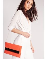 Missguided - Metal Plate Clutch Bag Orange - Lyst
