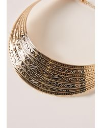 Missguided - Metallic Embossed Collar Necklace Gold - Lyst