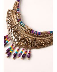 Missguided - Metallic Boho Statement Necklace Gold - Lyst