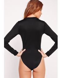 Missguided | Zip Up Bomber Bodysuit Black | Lyst