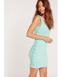 Missguided - Blue Tie Side Sleeveless Mini Dress Green - Lyst