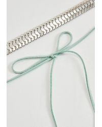 Missguided | Metallic Silver Chain Mint Tie Choker Necklace | Lyst
