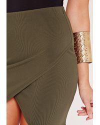 Missguided - Multicolor Ribbed Wrap Mini Skirt Khaki - Lyst