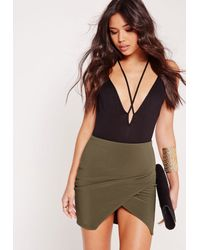 Missguided - Multicolor Ribbed Wrap Mini Skirt Khaki - Lyst