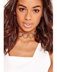 Missguided - Metallic Circle Choker Necklace Silver - Lyst