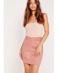 Missguided - Blue Faux Suede Stitch Waistband Skirt Pink - Lyst