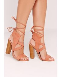 Missguided - Cross Strap Lace Back Block Heeled Sandals Pink - Lyst