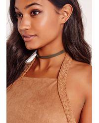 Missguided - Multicolor Faux Leather Choker Necklace Khaki - Lyst