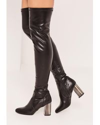 4ed1bb474446 Lyst - Missguided Black Bone Heel Over The Knee Boots in Black
