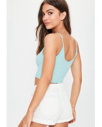 Missguided - Green Ribbed Cami Crop Top - Lyst