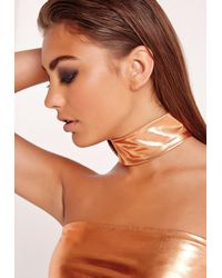 Missguided - Multicolor Metallic Choker Necklace Copper - Lyst