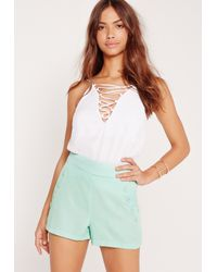 Missguided - Blue Button Front Pocket Shorts Mint - Lyst