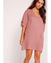 c77c97309c Lyst - Missguided Pleated Front Cheesecloth Dress Pink in Pink