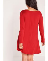 Missguided | Plus Size Lace Up Swing Dress Red | Lyst