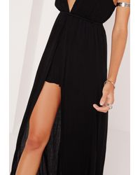 Missguided - Cheesecloth Skirt Overlay Romper Black - Lyst