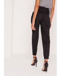 Missguided - Perforated Faux Suede Cuffed Joggers Black - Lyst