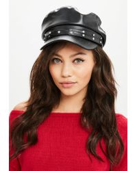Missguided - Black Diamante Baker Boy Cap - Lyst
