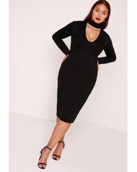 ee254919355 Lyst - Missguided Plus Size Choker Neck Longline Bodycon Dress Black ...