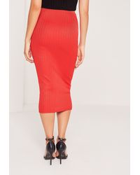 Missguided   Ribbed Midi Skirt Red   Lyst