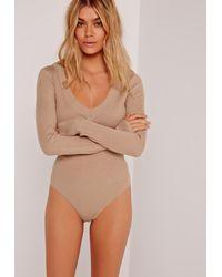 Missguided | Blue Plunge Bodysuit Camel | Lyst