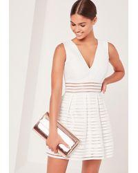 Missguided - Bandage Plunge Mesh Skater Dress White - Lyst