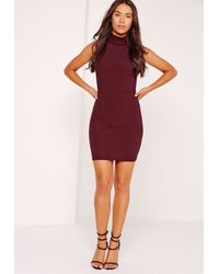 8cfb1938a1 Lyst - Missguided Ribbed Turtle Neck Bodysuit Burgundy in Purple