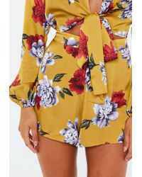Missguided - Multicolor Mustard Floral Floaty Shorts - Lyst